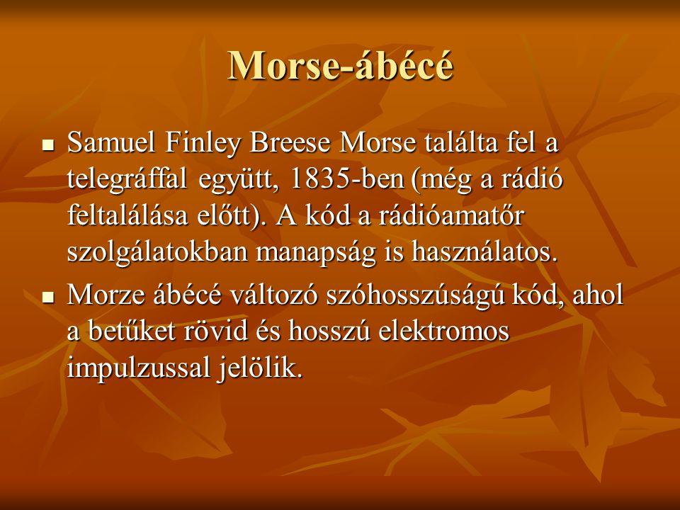 Morse-ábécé Samuel Finley Breese Morse találta fel a telegráffal együtt, 1835-ben (még a rádió feltalálása előtt). A kód a rádióamatőr szolgálatokban