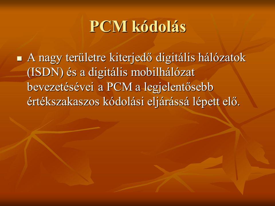 PCM kódolás A nagy területre kiterjedő digitális hálózatok (ISDN) és a digitális mobilhálózat bevezetésévei a PCM a legjelentősebb értékszakaszos kódo
