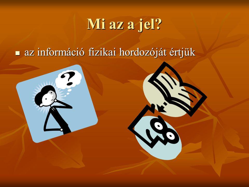 Mi az a jel? az információ fizikai hordozóját értjük az információ fizikai hordozóját értjük