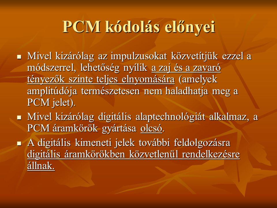 PCM kódolás előnyei Mivel kizárólag az impulzusokat közvetítjük ezzel a módszerrel, lehetőség nyílik a zaj és a zavaró tényezők szinte teljes elnyomás