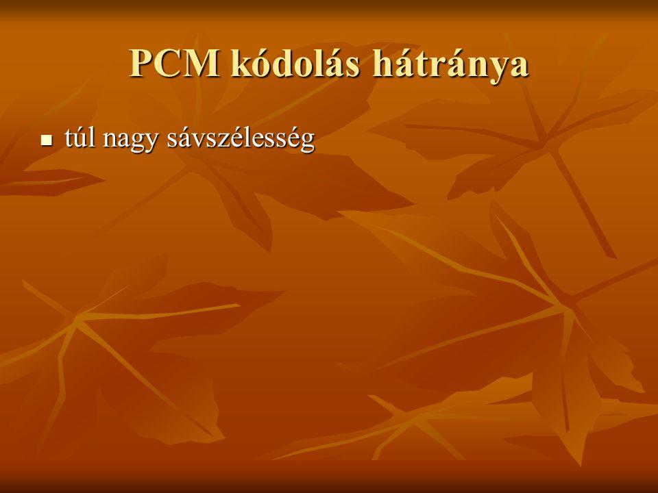 PCM kódolás hátránya túl nagy sávszélesség túl nagy sávszélesség