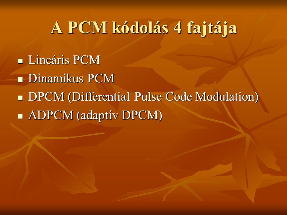 A PCM kódolás 4 fajtája Lineáris PCM Lineáris PCM Dinamikus PCM Dinamikus PCM DPCM (Differential Pulse Code Modulation) DPCM (Differential Pulse Code