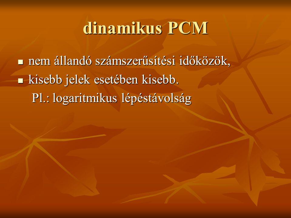 dinamikus PCM nem állandó számszerűsítési időközök, nem állandó számszerűsítési időközök, kisebb jelek esetében kisebb. kisebb jelek esetében kisebb.