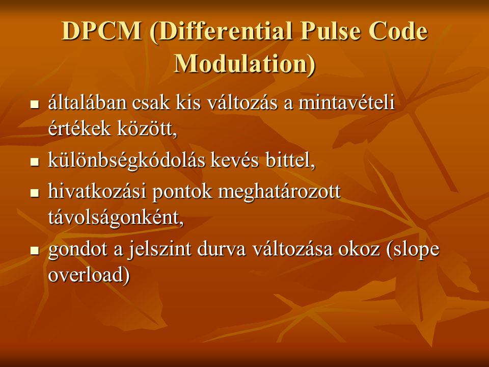 DPCM (Differential Pulse Code Modulation) általában csak kis változás a mintavételi értékek között, általában csak kis változás a mintavételi értékek