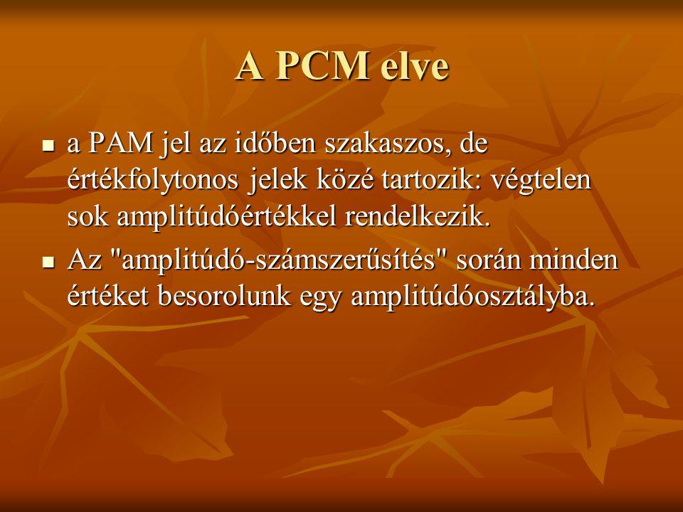 A PCM elve a PAM jel az időben szakaszos, de értékfolytonos jelek közé tartozik: végtelen sok amplitúdóértékkel rendelkezik. a PAM jel az időben szaka