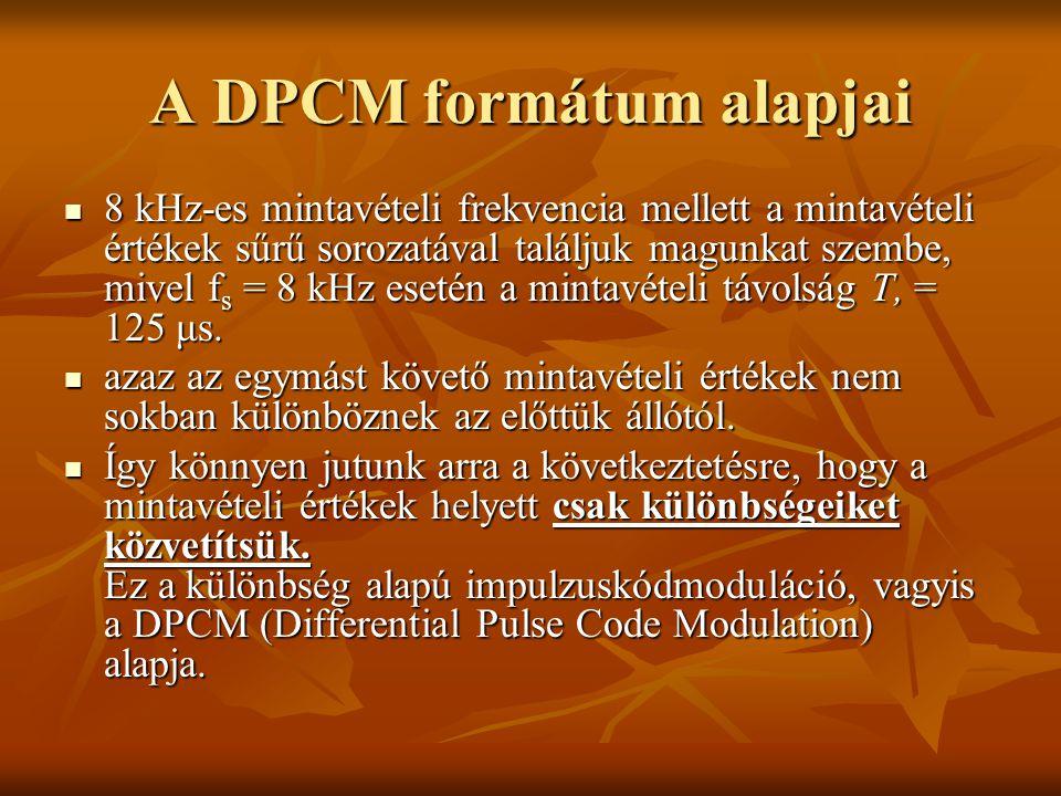 A DPCM formátum alapjai 8 kHz-es mintavételi frekvencia mellett a mintavételi értékek sűrű sorozatával találjuk magunkat szembe, mivel f s = 8 kHz ese