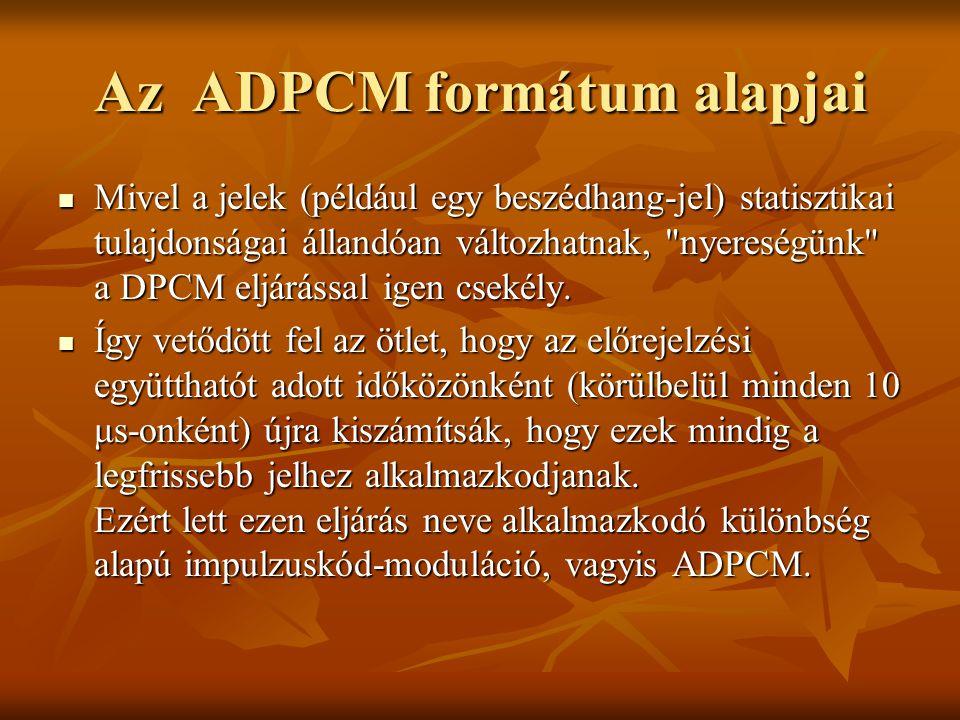 Az ADPCM formátum alapjai Mivel a jelek (például egy beszédhang-jel) statisztikai tulajdonságai állandóan változhatnak,