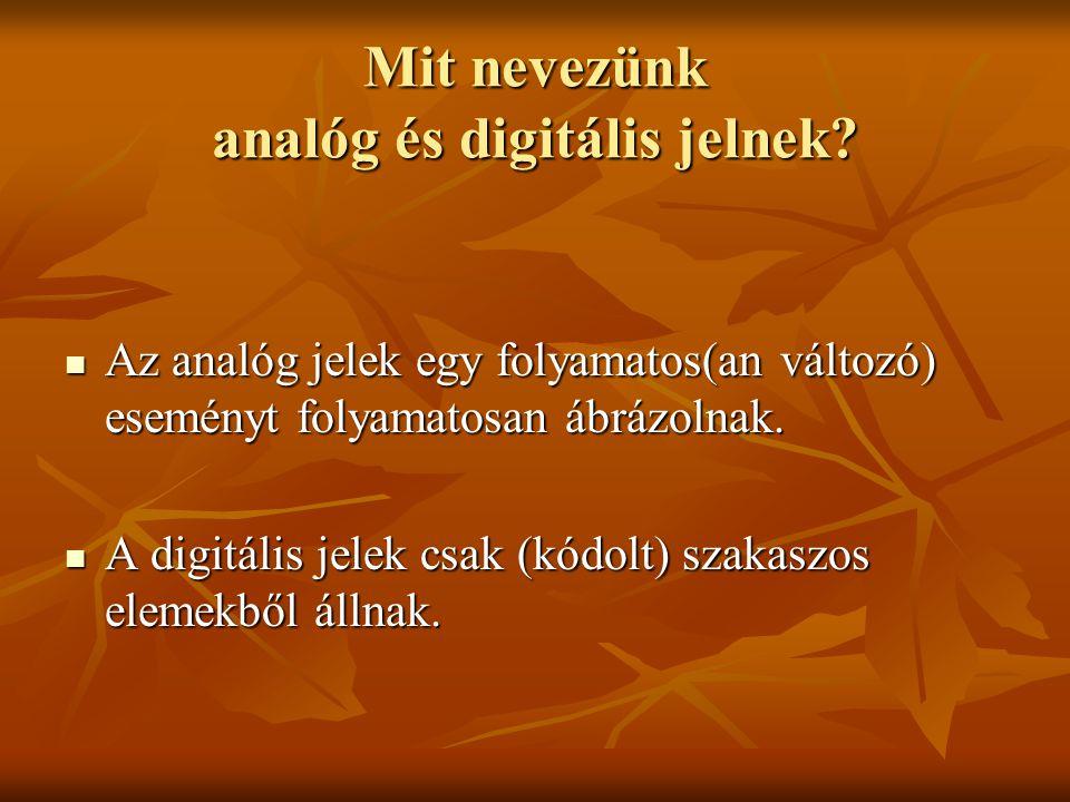 Mit nevezünk analóg és digitális jelnek? Az analóg jelek egy folyamatos(an változó) eseményt folyamatosan ábrázolnak. Az analóg jelek egy folyamatos(a
