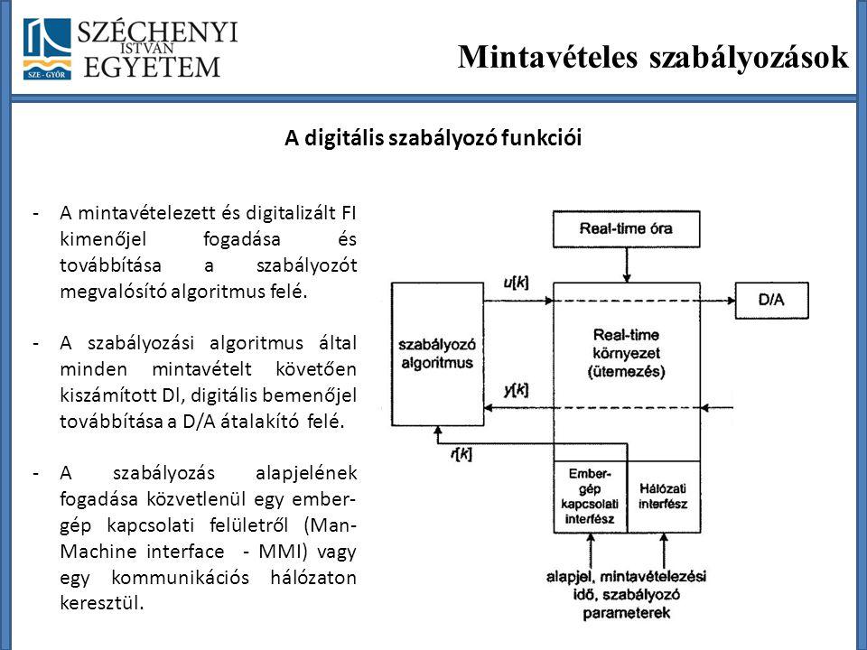Mintavételes szabályozások A digitális szabályozó funkciói -A mintavételezett és digitalizált FI kimenőjel fogadása és továbbítása a szabályozót megvalósító algoritmus felé.