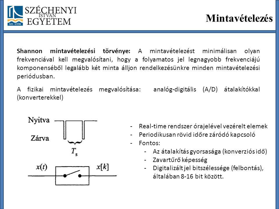 Mintavételezés Shannon mintavételezési törvénye: A mintavételezést minimálisan olyan frekvenciával kell megvalósítani, hogy a folyamatos jel legnagyobb frekvenciájú komponenséből legalább két minta álljon rendelkezésünkre minden mintavételezési periódusban.