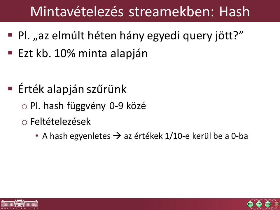 """Mintavételezés streamekben: Hash  Pl. """"az elmúlt héten hány egyedi query jött  Ezt kb."""