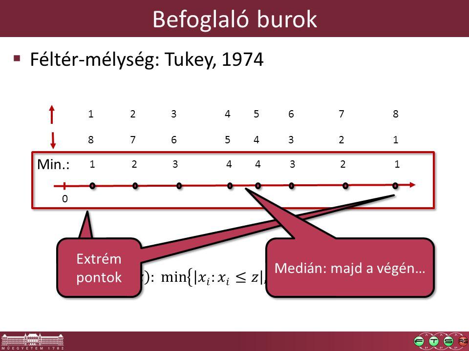 Befoglaló burok 0 23154678 76845321 Min.: 23144321  Féltér-mélység: Tukey, 1974 Extrém pontok Medián: majd a végén…