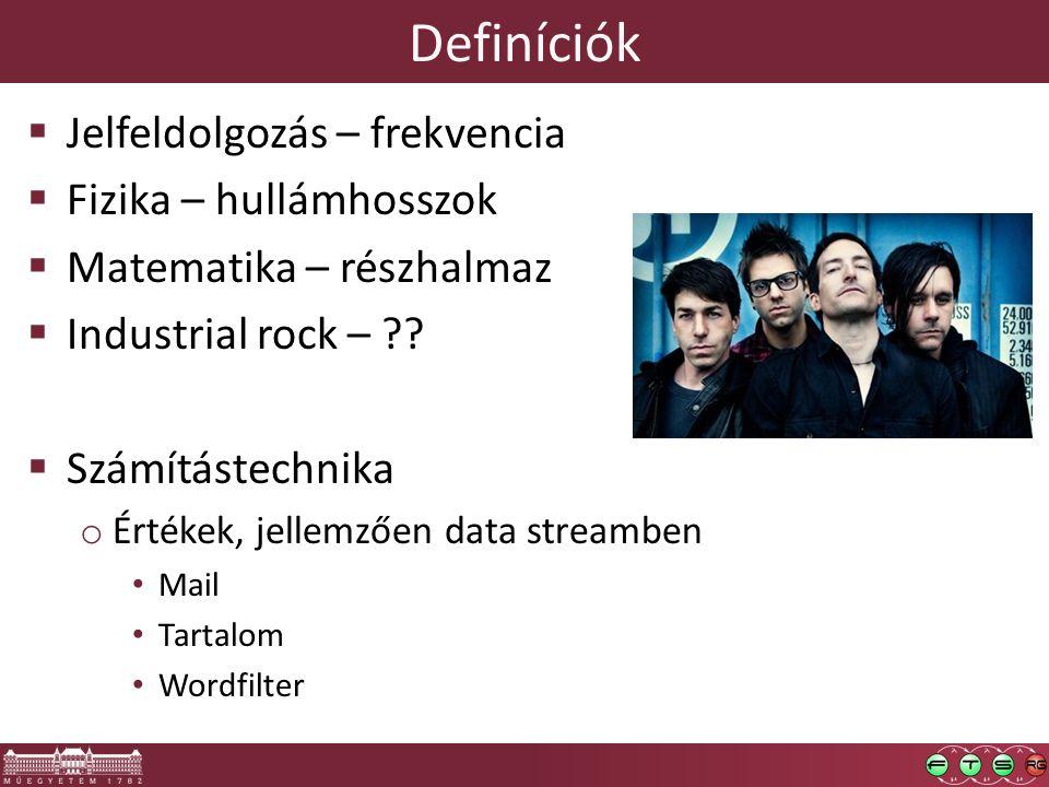 Definíciók  Jelfeldolgozás – frekvencia  Fizika – hullámhosszok  Matematika – részhalmaz  Industrial rock – .