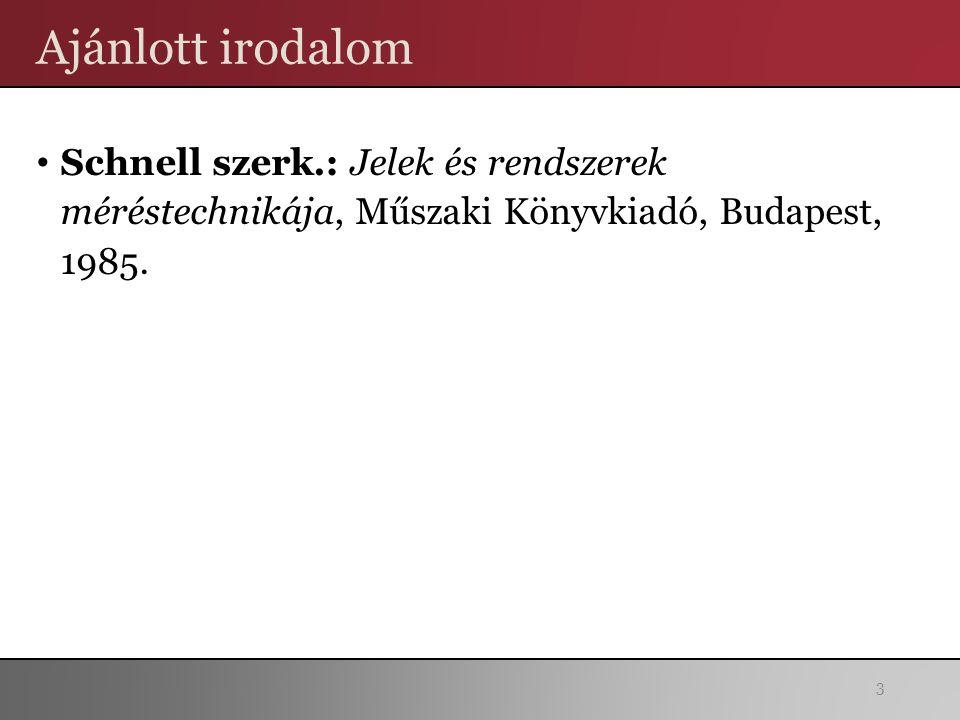 Ajánlott irodalom Schnell szerk.: Jelek és rendszerek méréstechnikája, Műszaki Könyvkiadó, Budapest, 1985. 3
