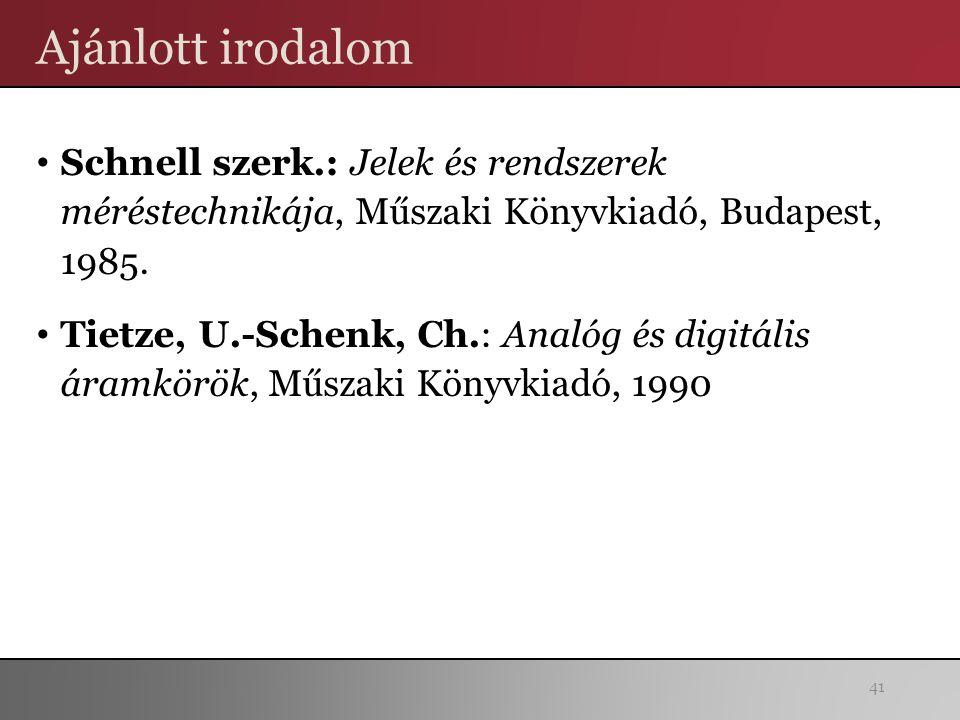 Ajánlott irodalom Schnell szerk.: Jelek és rendszerek méréstechnikája, Műszaki Könyvkiadó, Budapest, 1985. Tietze, U.-Schenk, Ch.: Analóg és digitális