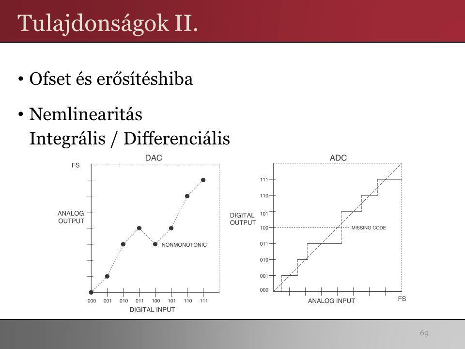 Tulajdonságok II. Ofset és erősítéshiba Nemlinearitás Integrális / Differenciális 69