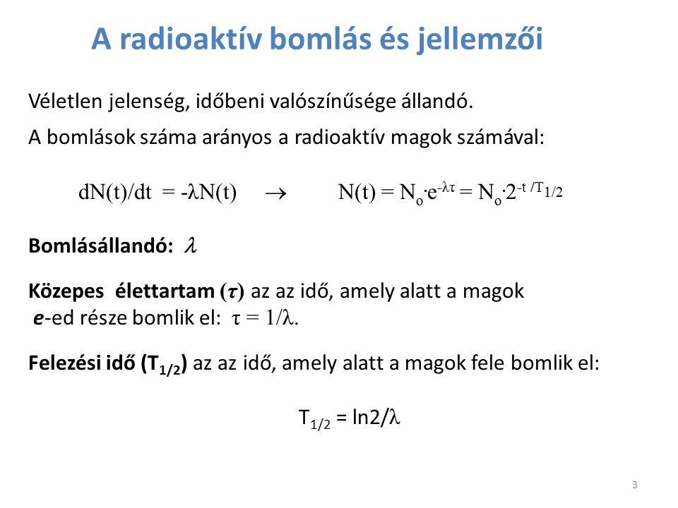Véletlen jelenség, időbeni valószínűsége állandó. A bomlások száma arányos a radioaktív magok számával: dN(t)/dt = -λN(t)  N(t) = N o. e -λτ = N o. 2