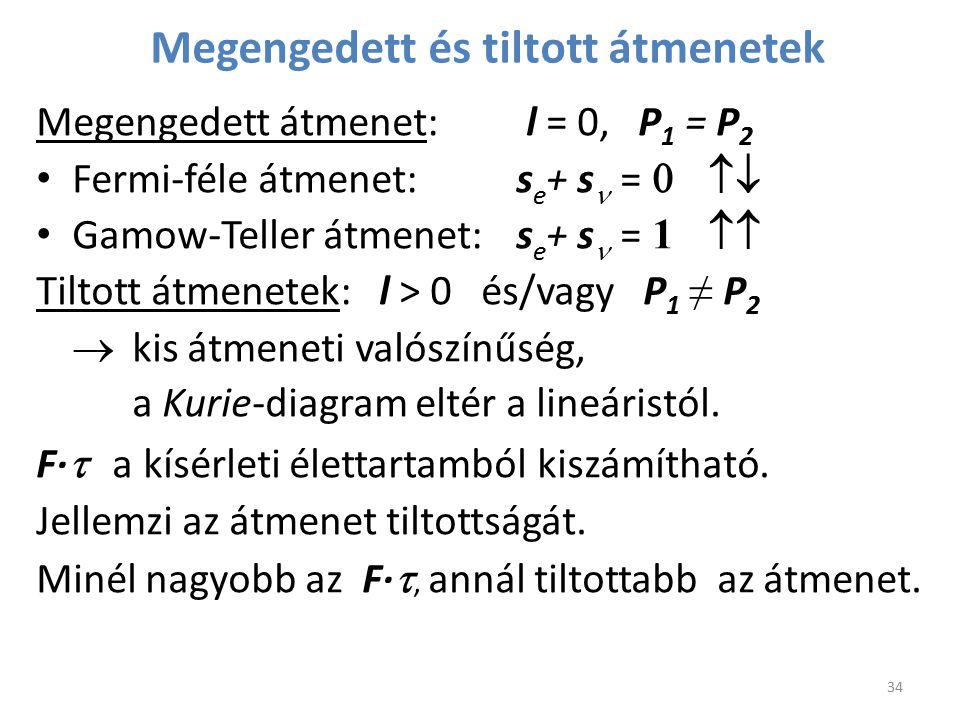 Megengedett és tiltott átmenetek Megengedett átmenet: l = 0, P 1 = P 2 Fermi-féle átmenet: s e + s  =  Gamow-Teller átmenet: s e + s  =  1  T