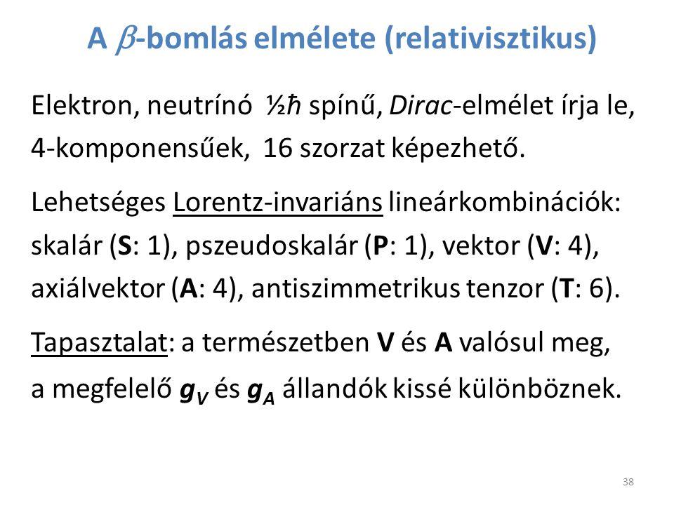 A  -bomlás elmélete (relativisztikus) 38 Elektron, neutrínó ½ħ spínű, Dirac-elmélet írja le, 4-komponensűek, 16 szorzat képezhető. Lehetséges Lorentz