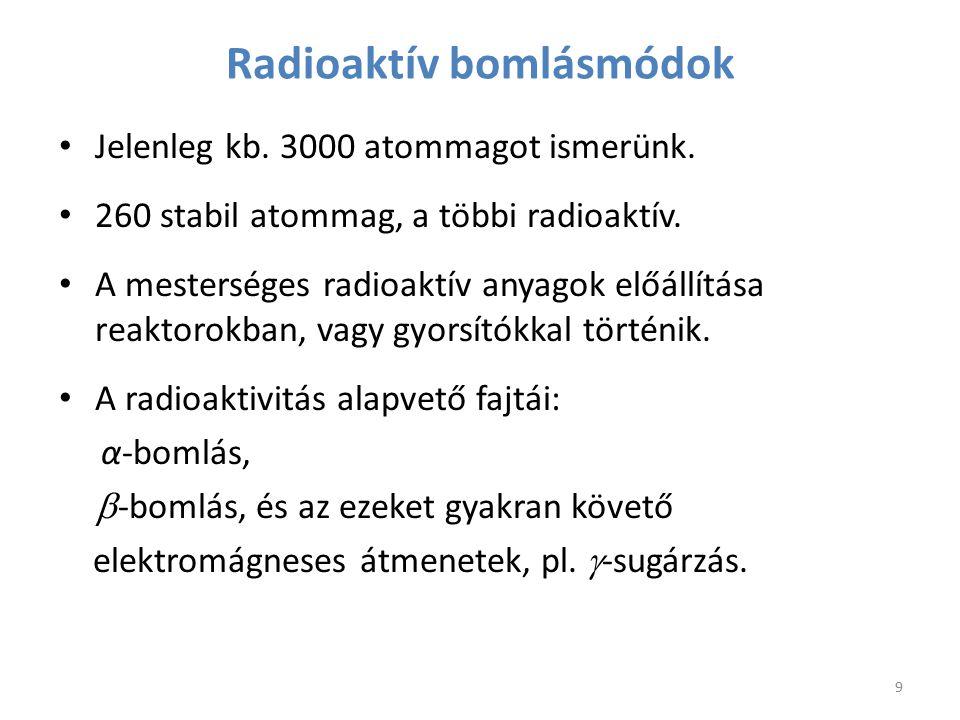 Radioaktív bomlásmódok Jelenleg kb. 3000 atommagot ismerünk. 260 stabil atommag, a többi radioaktív. A mesterséges radioaktív anyagok előállítása reak