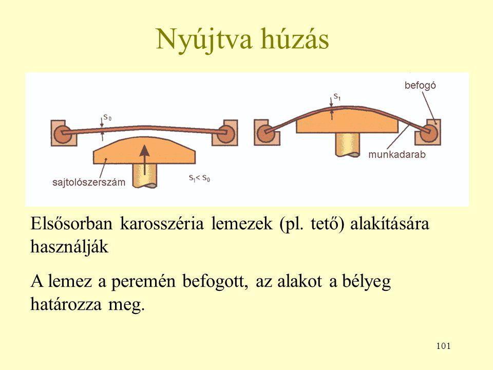 101 Nyújtva húzás Elsősorban karosszéria lemezek (pl. tető) alakítására használják A lemez a peremén befogott, az alakot a bélyeg határozza meg.