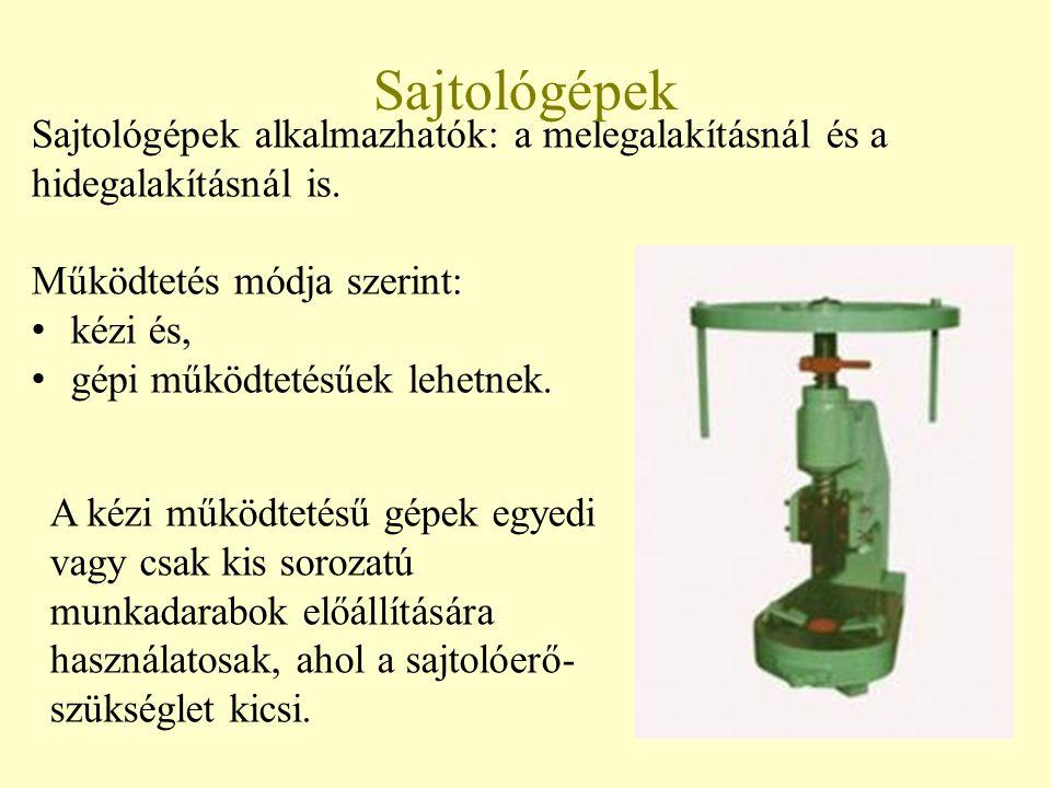 Bánki Donát Gépész és Biztonságtechnikai Mérnöki Kar Mechatronikai és Autótechnikai Intézet Sajtológépek alkalmazhatók: a melegalakításnál és a hidegalakításnál is.