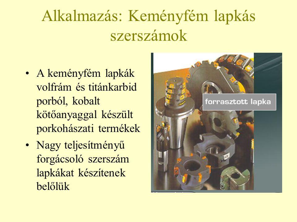 Alkalmazás: Keményfém lapkás szerszámok A keményfém lapkák volfrám és titánkarbid porból, kobalt kötőanyaggal készült porkohászati termékek Nagy telje