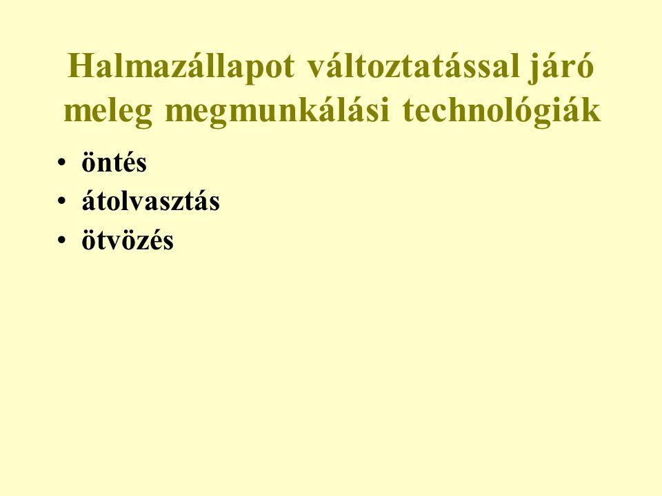 Halmazállapot változtatással járó meleg megmunkálási technológiák öntés átolvasztás ötvözés
