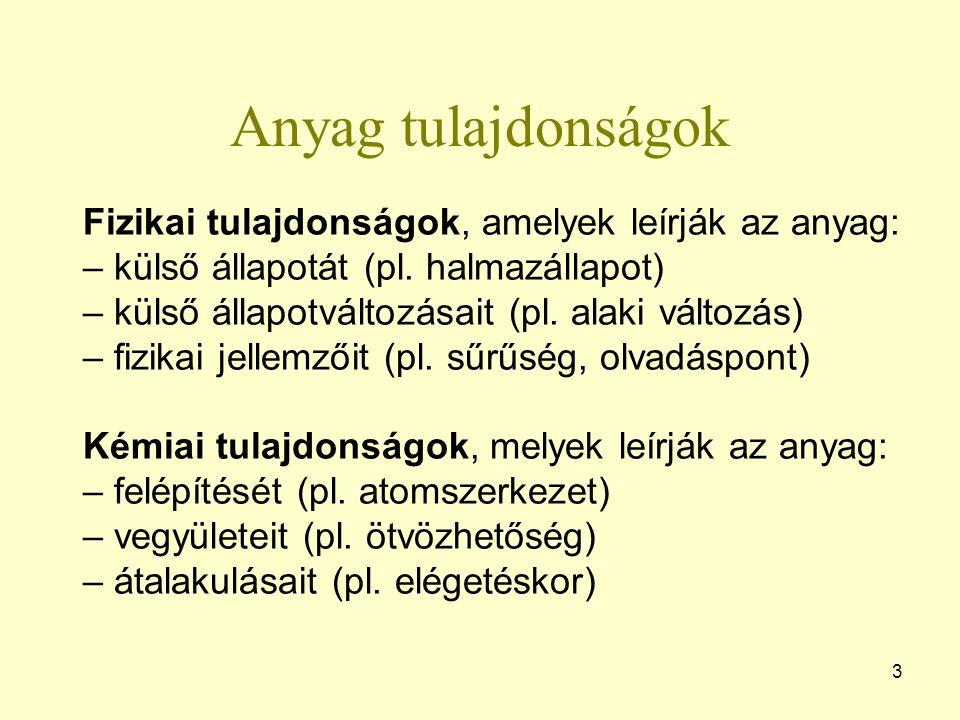 Anyag tulajdonságok 3 Fizikai tulajdonságok, amelyek leírják az anyag: – külső állapotát (pl.