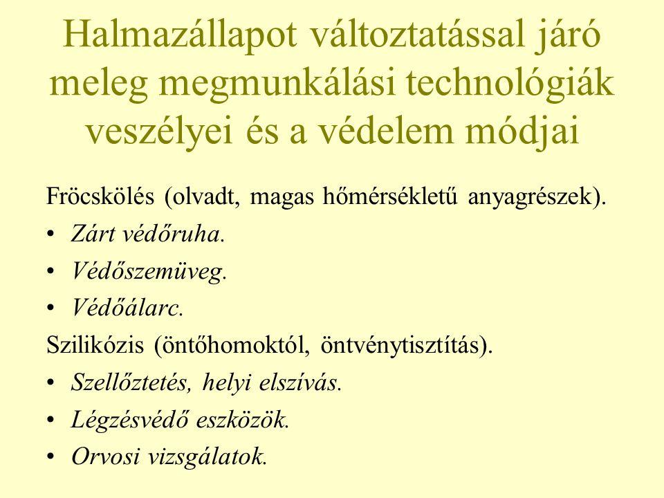 Halmazállapot változtatással járó meleg megmunkálási technológiák veszélyei és a védelem módjai Fröcskölés (olvadt, magas hőmérsékletű anyagrészek).