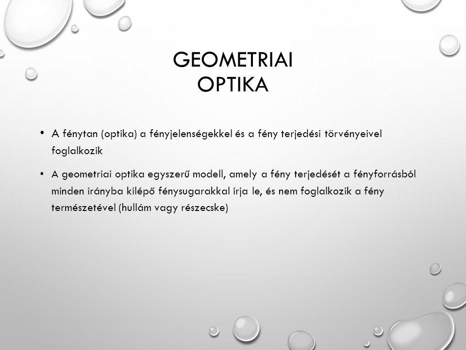 GEOMETRIAI OPTIKA A fénytan (optika) a fényjelenségekkel és a fény terjedési törvényeivel foglalkozik A geometriai optika egyszerű modell, amely a fény terjedését a fényforrásból minden irányba kilépő fénysugarakkal írja le, és nem foglalkozik a fény természetével (hullám vagy részecske)