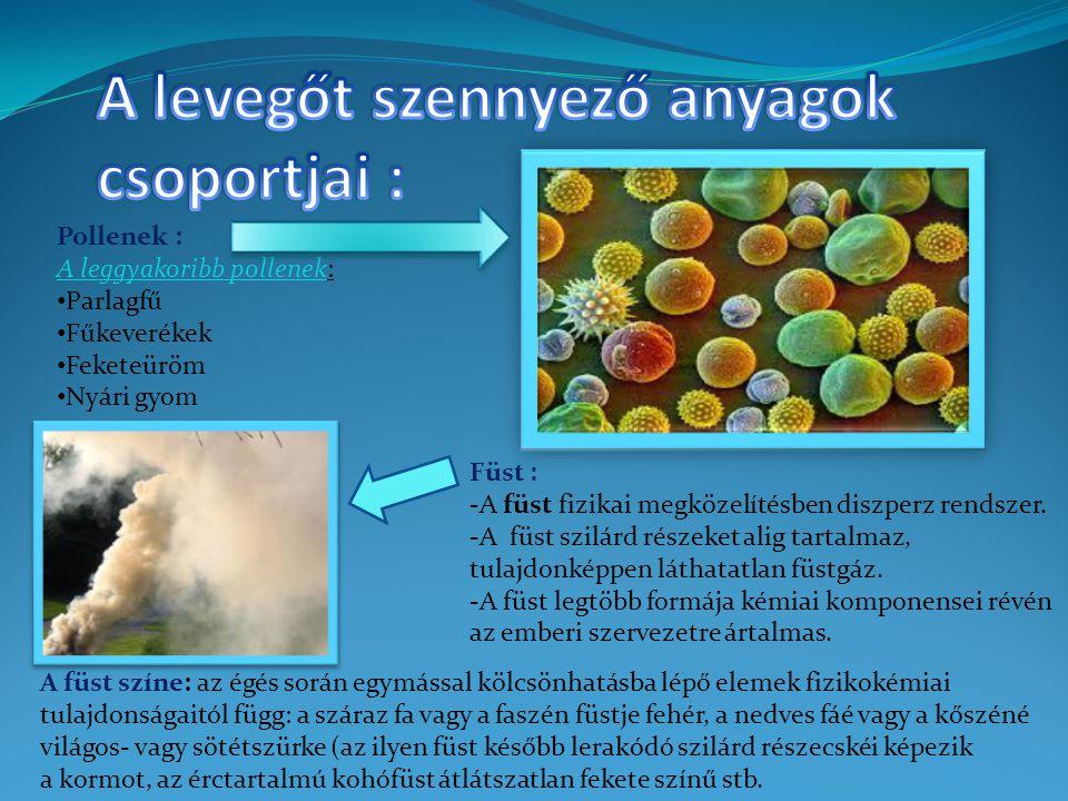 Pollenek : A leggyakoribb pollenek: Parlagfű Fűkeverékek Feketeüröm Nyári gyom Füst : -A füst fizikai megközelítésben diszperz rendszer.