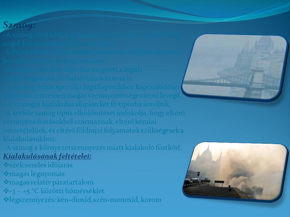 Szmog: -A szmog (füstköd) fogalmát a füst (smoke) és a köd (fog) angol kifejezésekből állították össze.