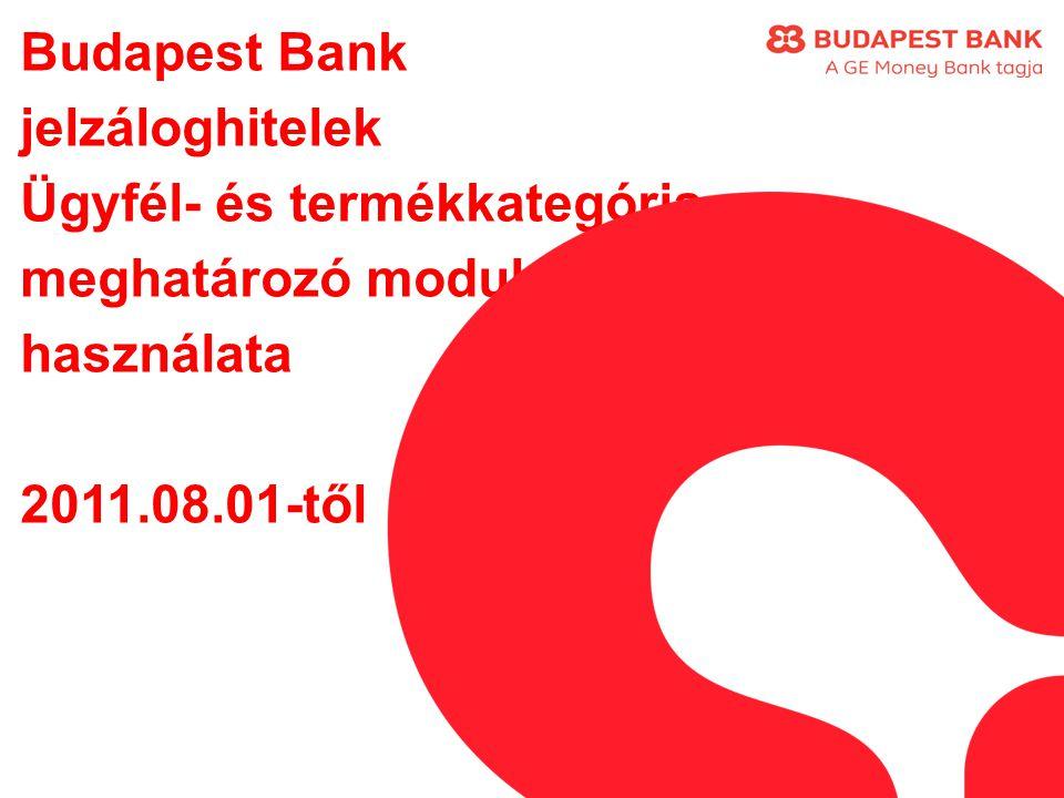 Budapest Bank jelzáloghitelek Ügyfél- és termékkategória meghatározó modul használata 2011.08.01-től