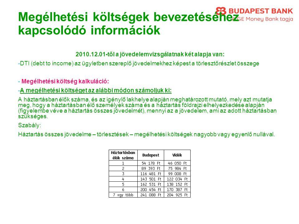 Megélhetési költségek bevezetéséhez kapcsolódó információk 2010.12.01-től a jövedelemvizsgálatnak két alapja van: -DTI (debt to income) az ügyletben s