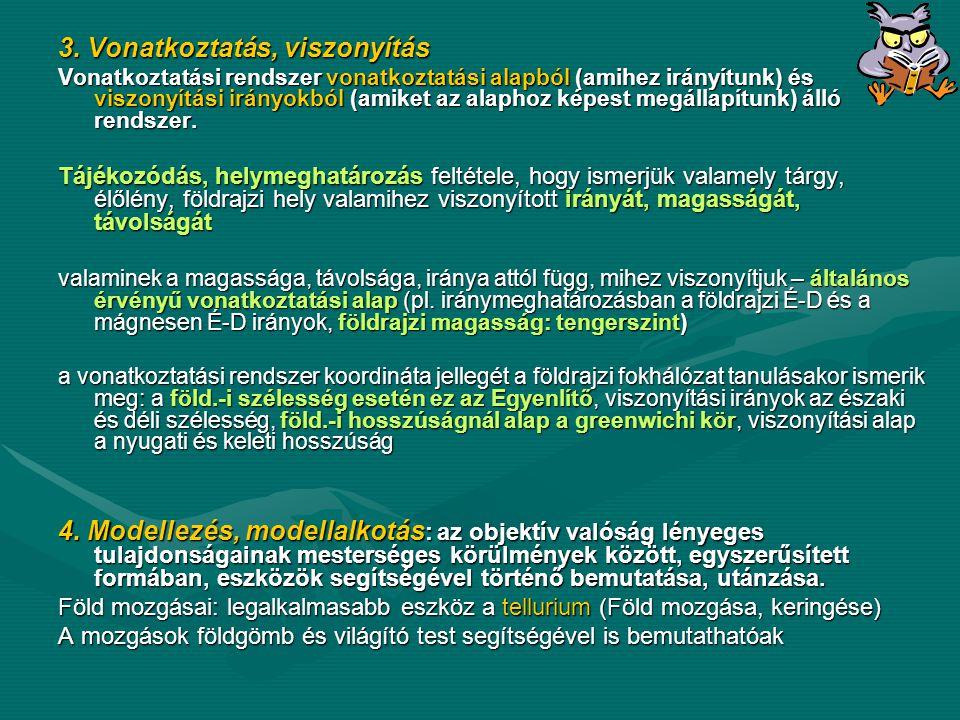 3. Vonatkoztatás, viszonyítás Vonatkoztatási rendszer vonatkoztatási alapból (amihez irányítunk) és viszonyítási irányokból (amiket az alaphoz képest