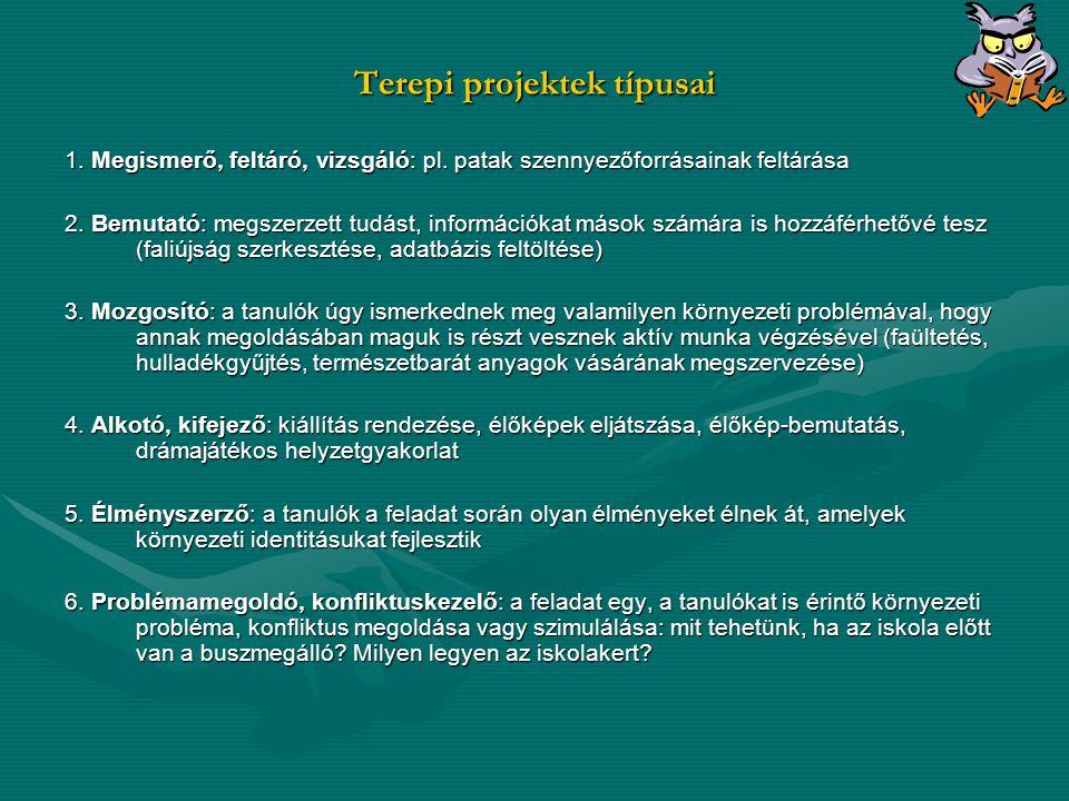 Terepi projektek típusai 1.Megismerő, feltáró, vizsgáló: pl.