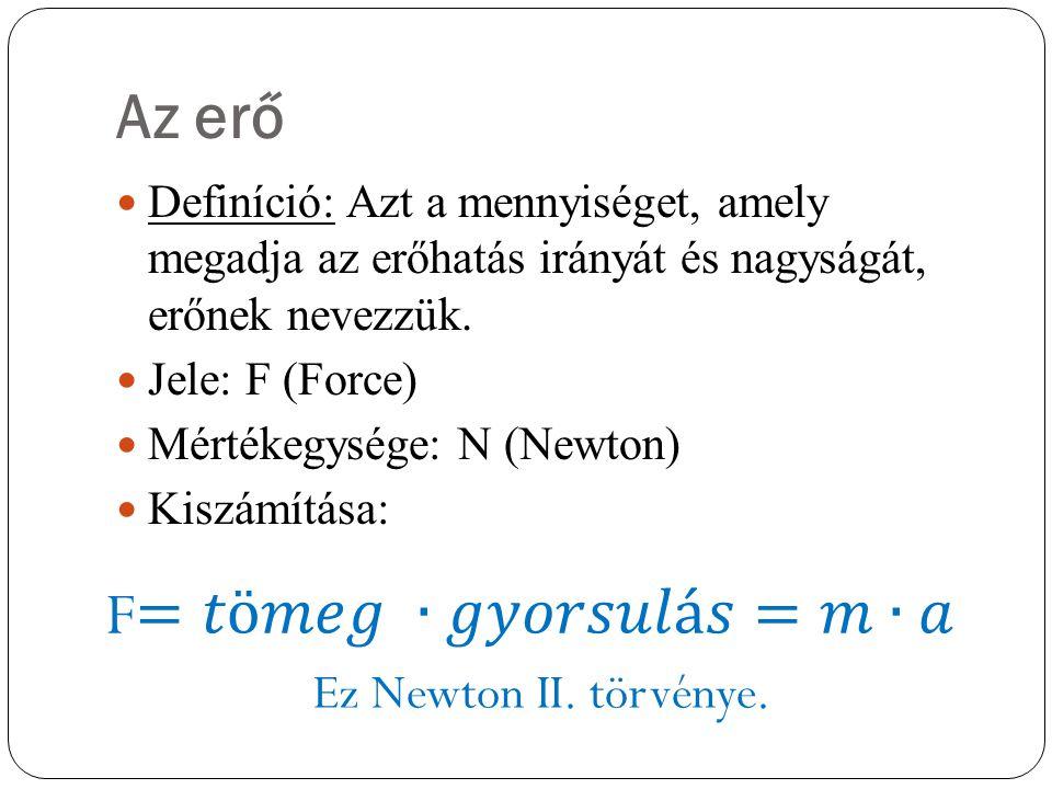 Az erő Definíció: Azt a mennyiséget, amely megadja az erőhatás irányát és nagyságát, erőnek nevezzük. Jele: F (Force) Mértékegysége: N (Newton) Kiszám