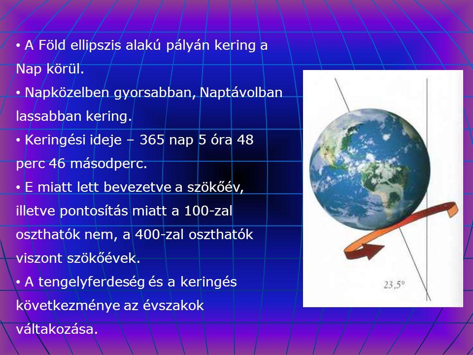 A Föld ellipszis alakú pályán kering a Nap körül. Napközelben gyorsabban, Naptávolban lassabban kering. Keringési ideje – 365 nap 5 óra 48 perc 46 más