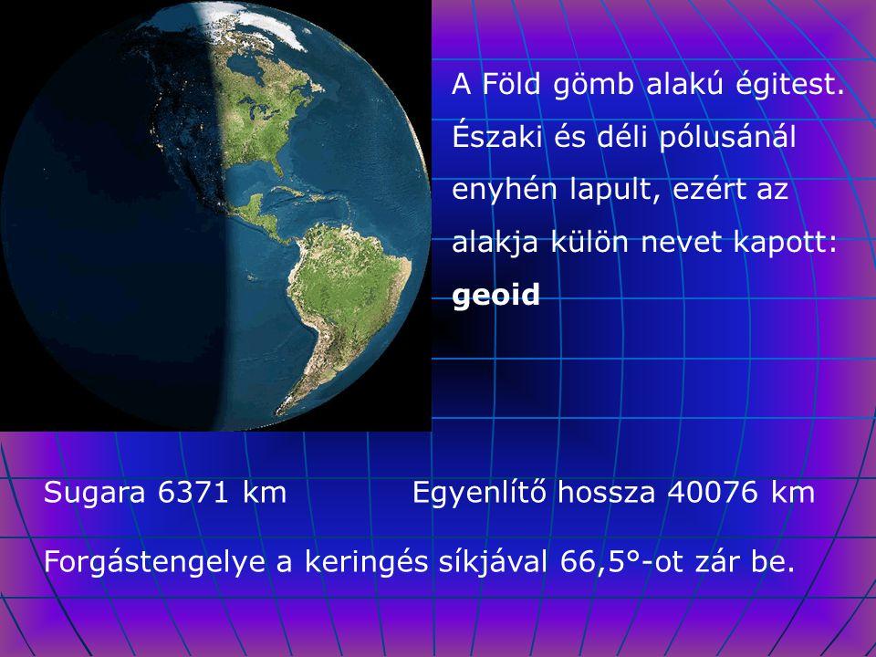 A Föld gömb alakú égitest. Északi és déli pólusánál enyhén lapult, ezért az alakja külön nevet kapott: geoid Sugara 6371 km Egyenlítő hossza 40076 km