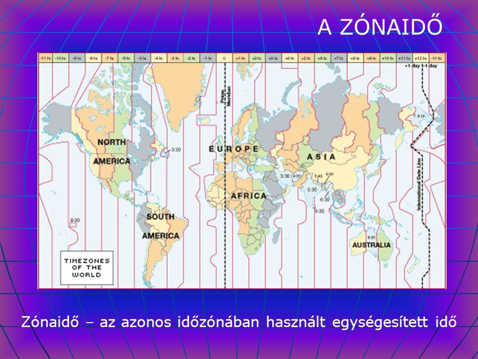 A ZÓNAIDŐ Zónaidő – az azonos időzónában használt egységesített idő