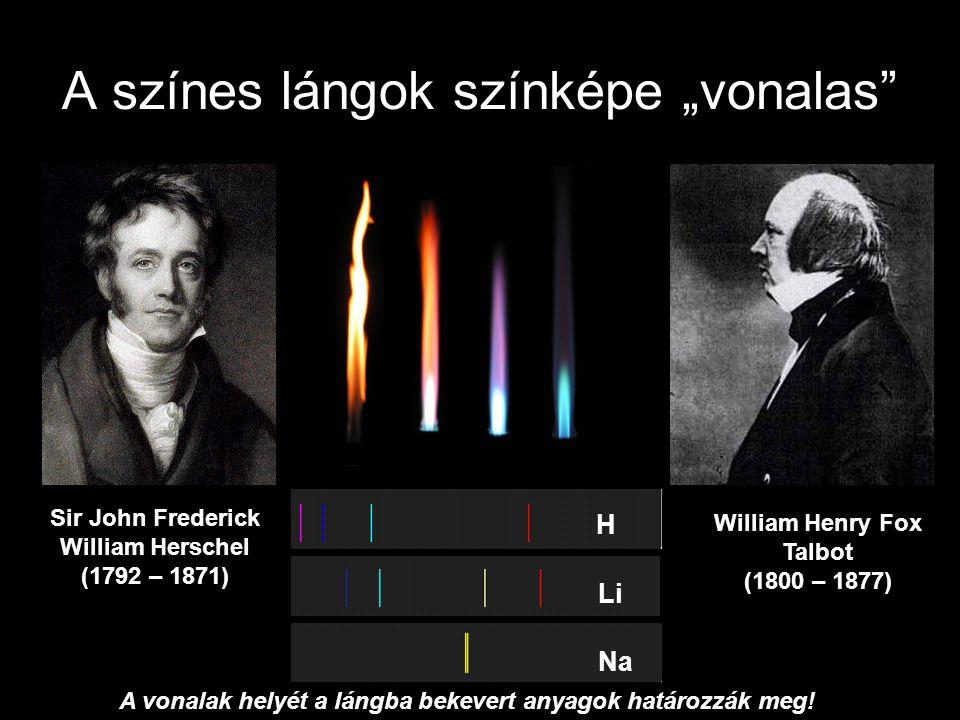 """A színes lángok színképe """"vonalas"""" Sir John Frederick William Herschel (1792 – 1871) William Henry Fox Talbot (1800 – 1877) H Li Na A vonalak helyét a"""