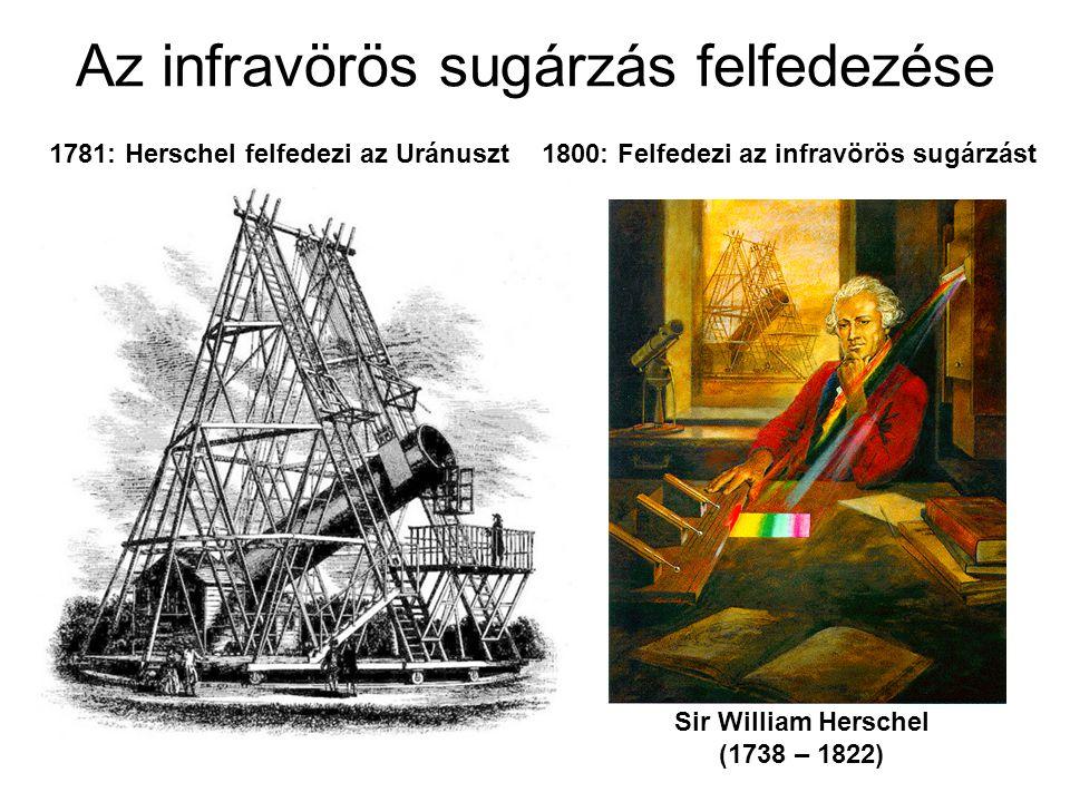 Az infravörös sugárzás felfedezése Sir William Herschel (1738 – 1822) 1781: Herschel felfedezi az Uránuszt1800: Felfedezi az infravörös sugárzást