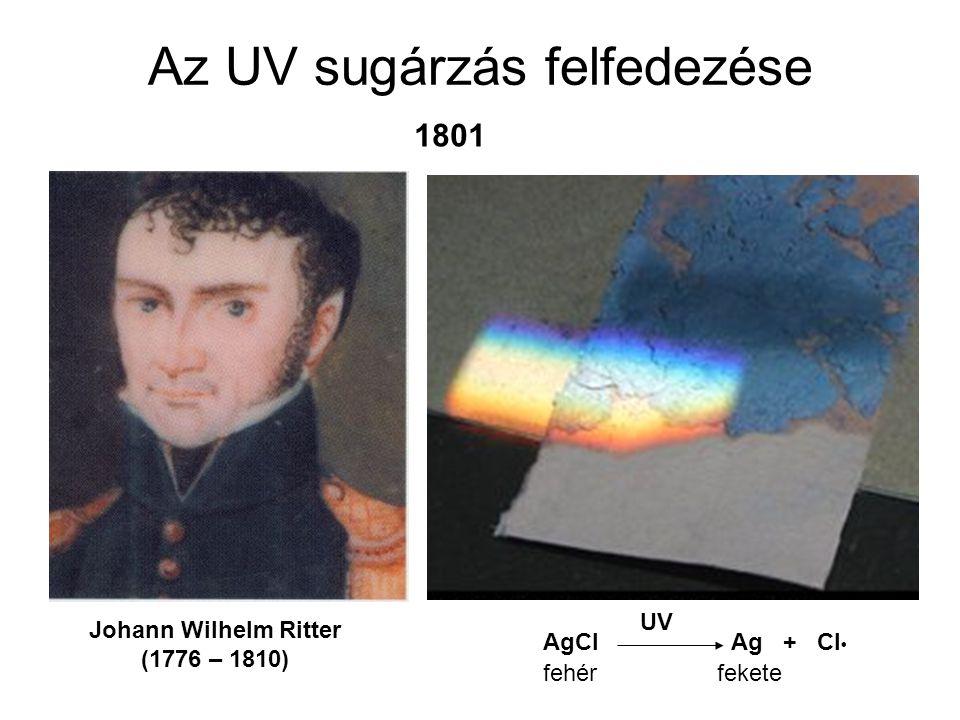 Az UV sugárzás felfedezése Johann Wilhelm Ritter (1776 – 1810) AgCl Ag + Cl UV 1801 fehérfekete