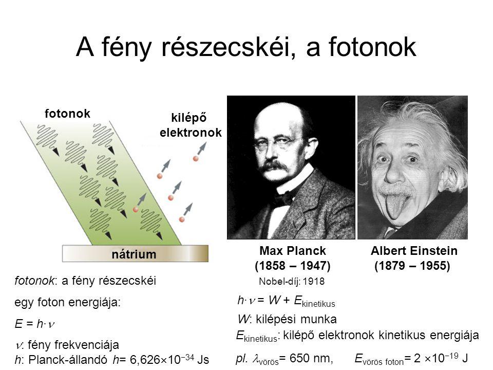 A fény részecskéi, a fotonok kilépő elektronok fotonok nátrium fotonok: a fény részecskéi egy foton energiája: E = h· : fény frekvenciája h: Planck-ál