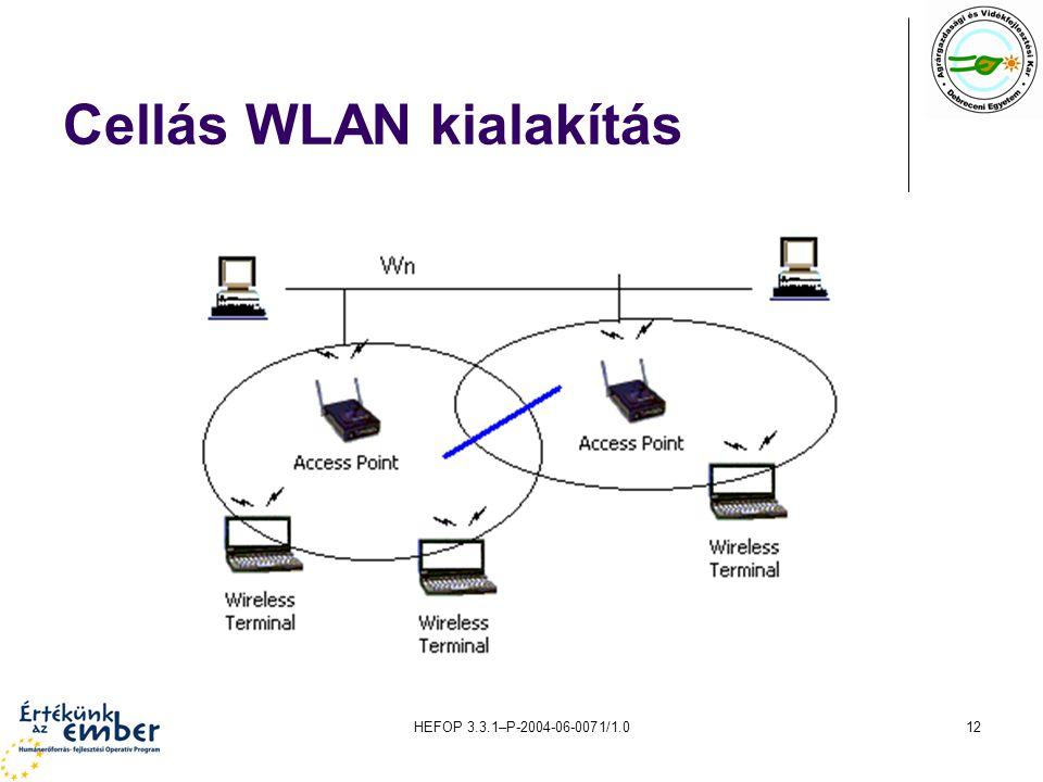 HEFOP 3.3.1–P-2004-06-0071/1.012 Cellás WLAN kialakítás