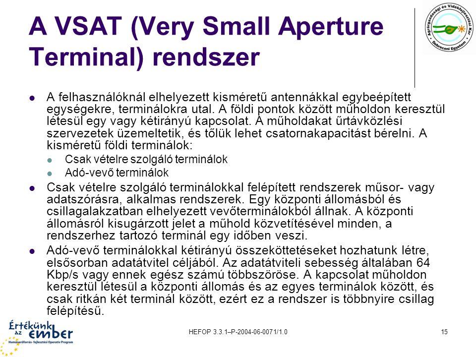HEFOP 3.3.1–P-2004-06-0071/1.015 A VSAT (Very Small Aperture Terminal) rendszer A felhasználóknál elhelyezett kisméretű antennákkal egybeépített egységekre, terminálokra utal.