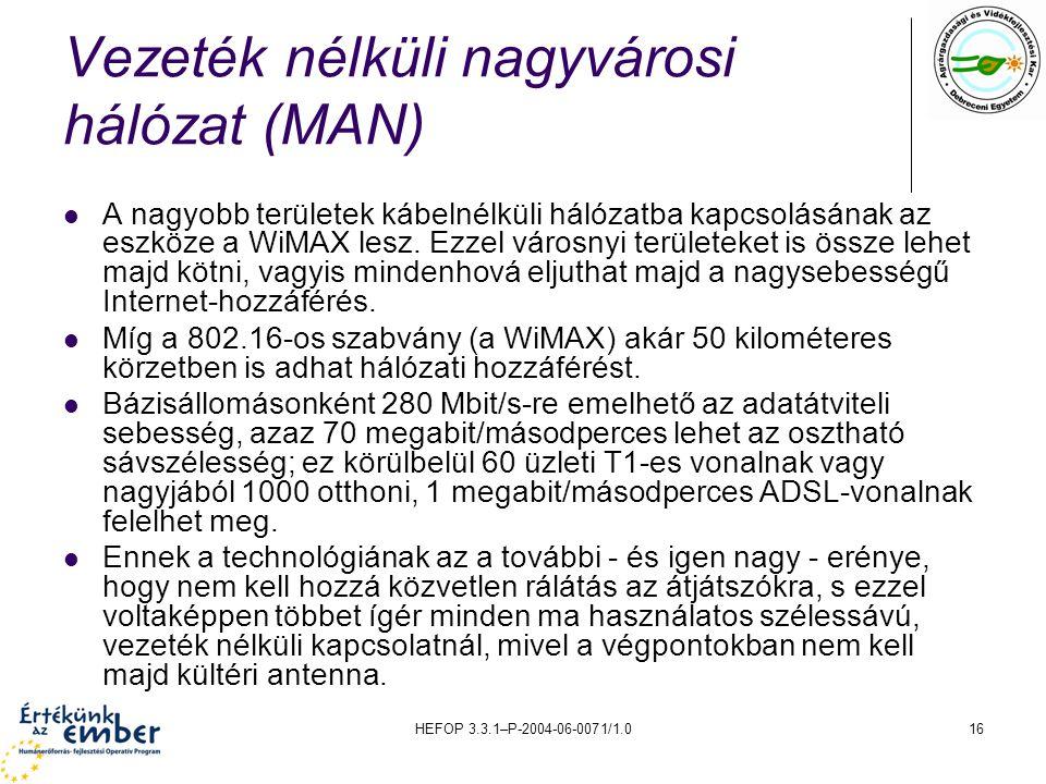 HEFOP 3.3.1–P-2004-06-0071/1.016 Vezeték nélküli nagyvárosi hálózat (MAN) A nagyobb területek kábelnélküli hálózatba kapcsolásának az eszköze a WiMAX lesz.