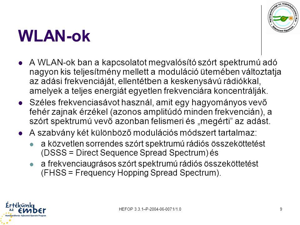 HEFOP 3.3.1–P-2004-06-0071/1.09 WLAN-ok A WLAN-ok ban a kapcsolatot megvalósító szórt spektrumú adó nagyon kis teljesítmény mellett a moduláció ütemében változtatja az adási frekvenciáját, ellentétben a keskenysávú rádiókkal, amelyek a teljes energiát egyetlen frekvenciára koncentrálják.