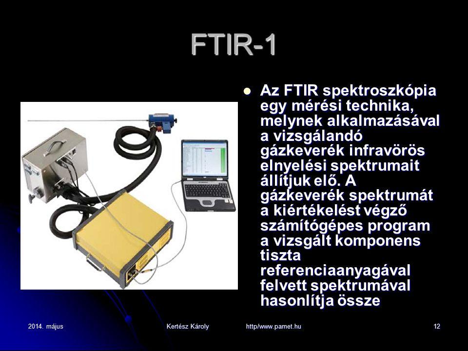 2014. májusKertész Károly http/www.pamet.hu12 FTIR-1 Az FTIR spektroszkópia egy mérési technika, melynek alkalmazásával a vizsgálandó gázkeverék infra